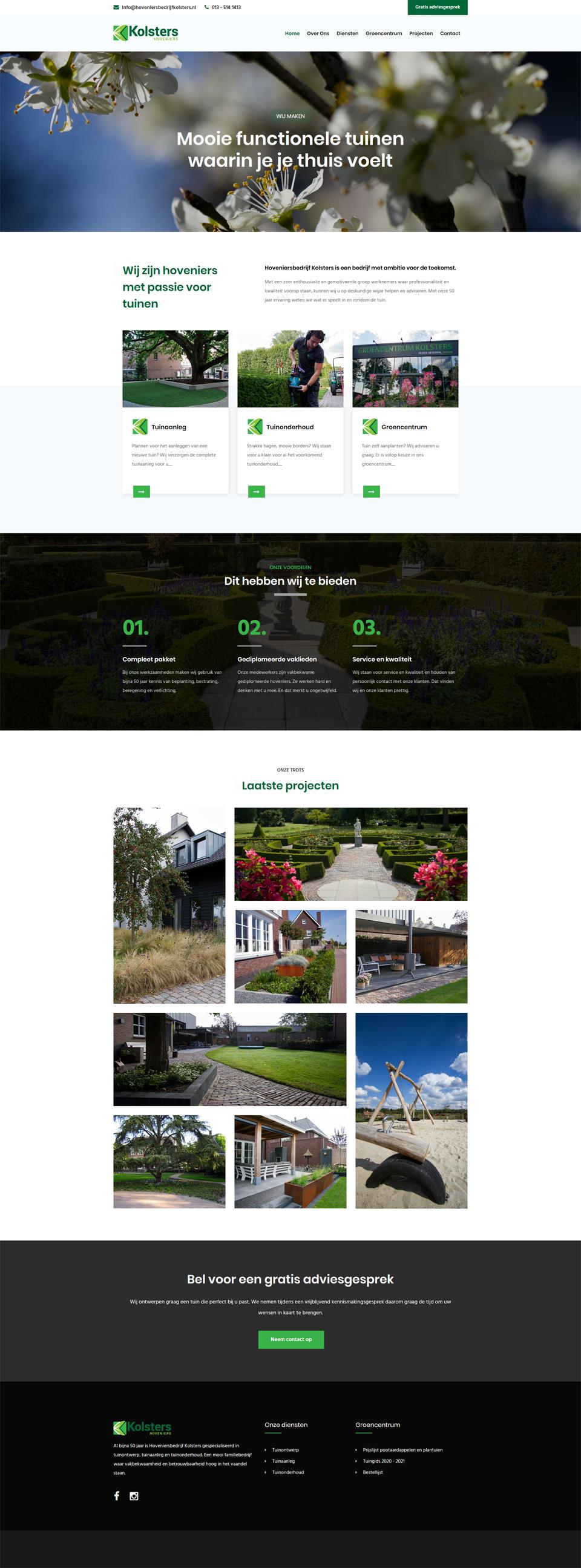Webdesign Middelbeers Hoveniersbedrijf Kolsters